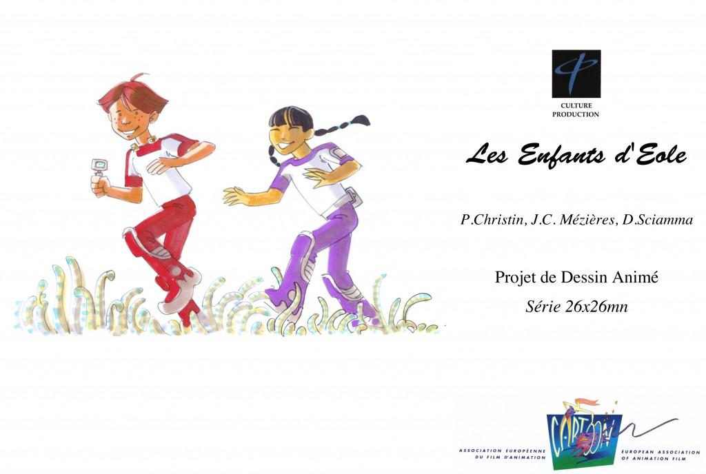 """Couverture du dossier """"Les Enfants d'Eole"""" - Projet de dessin animé - 26x26mn - Pierre Christin, Jean-Claude Mézières, Dominique Sciamma - Culture Production"""